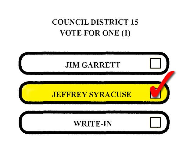 Ballot Distric 15 - Vote For Jeff Syracuse