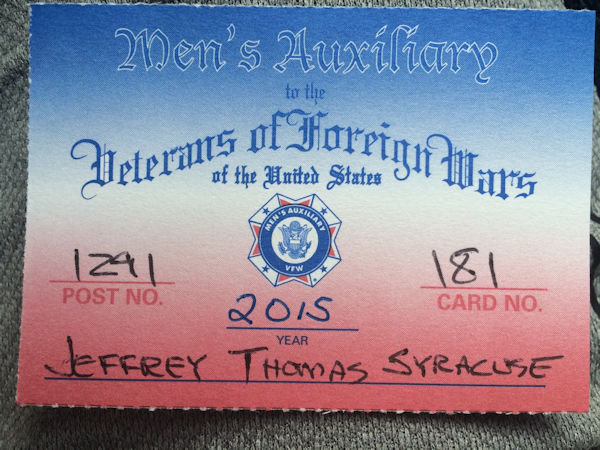 VFW Auxiliary Membership Card