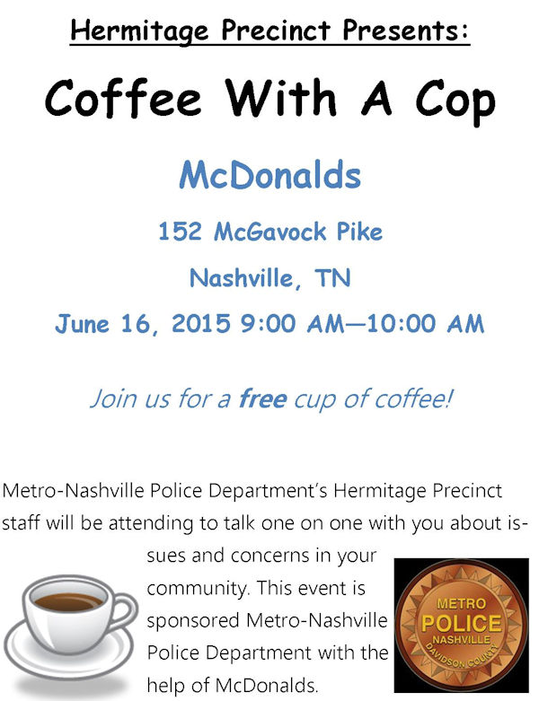 Coffee With a Cop in Hermitage Precinct