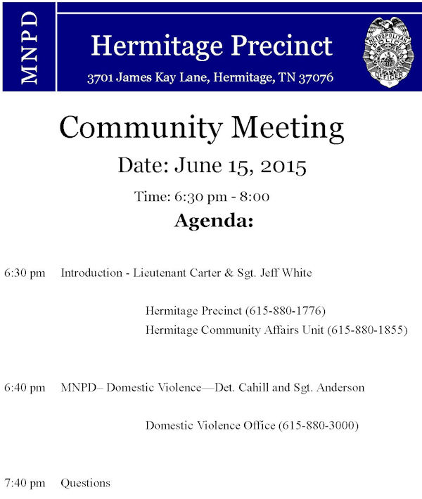 Community Meeting in Hermitage Precinct on June 15