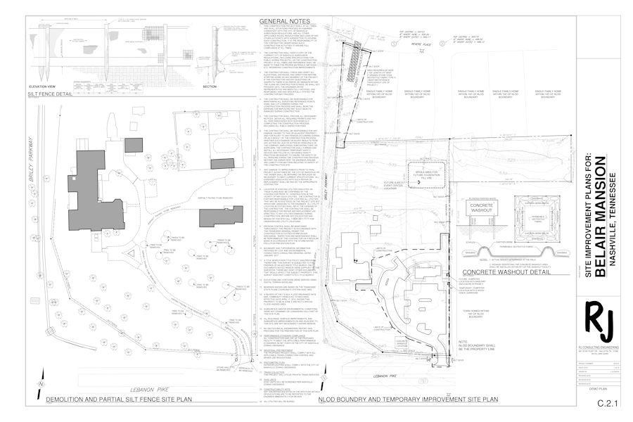 Site Improvement Plans for Belair Mansion