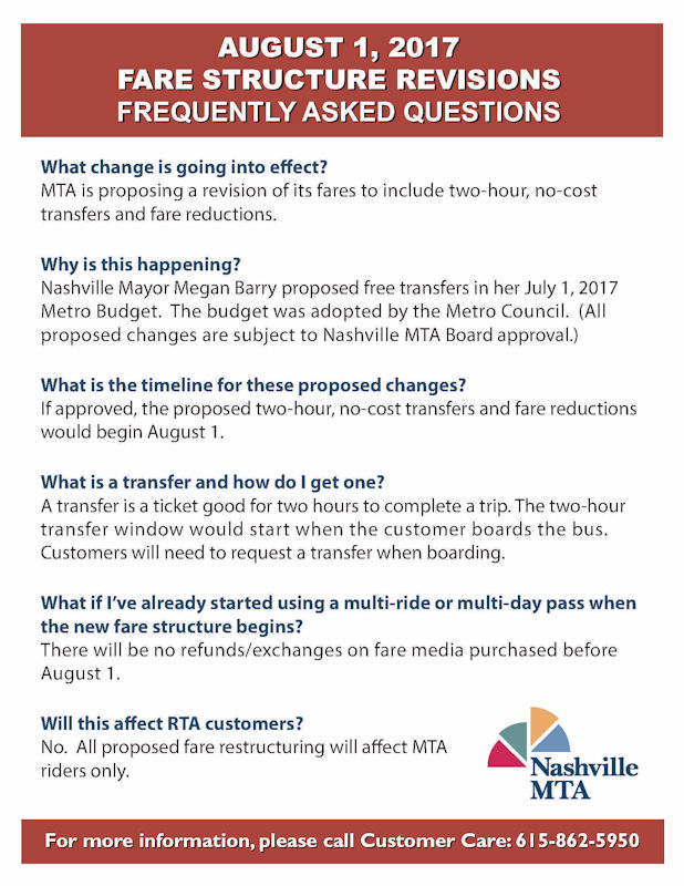 MTA Announces Fare Reductions August 2017