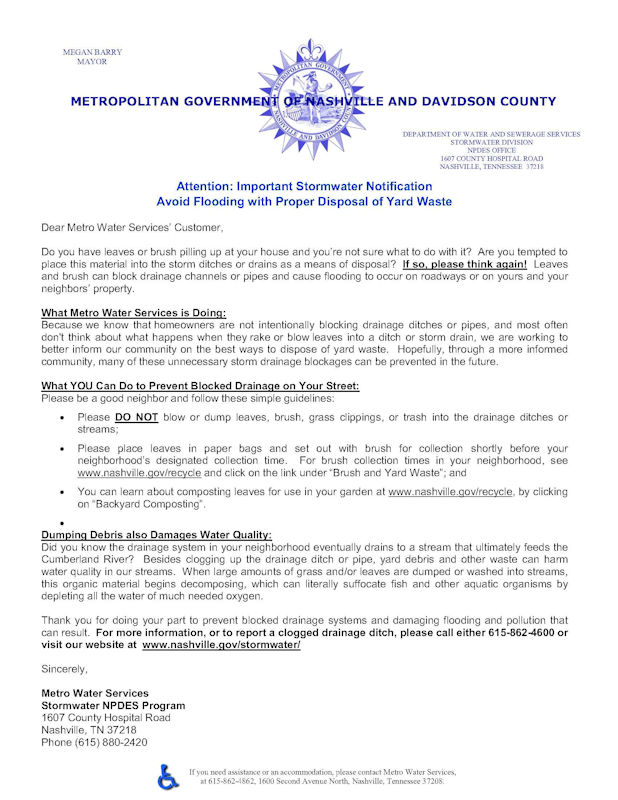 Stormwater Yard Waste Education Letter