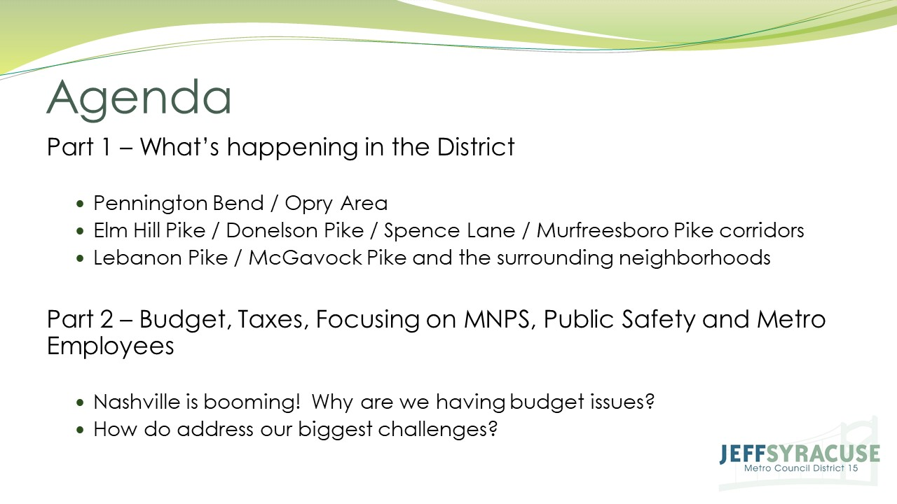 Donelson Town Hall Meeting with Jeff Syracuse - Slide 2
