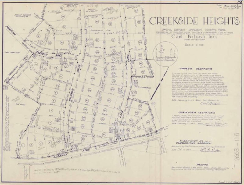 Creekside Heights - Original map of one of our district's neighborhoods