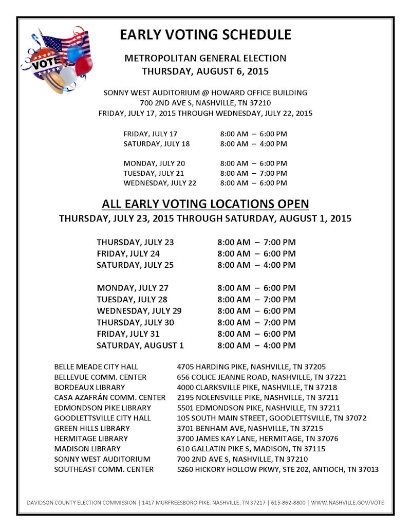 Early Voting Schedule For Metro 2015 Elections