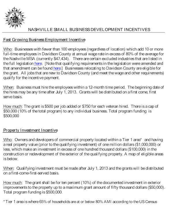 Nashville Small Business Development Incentives 2016