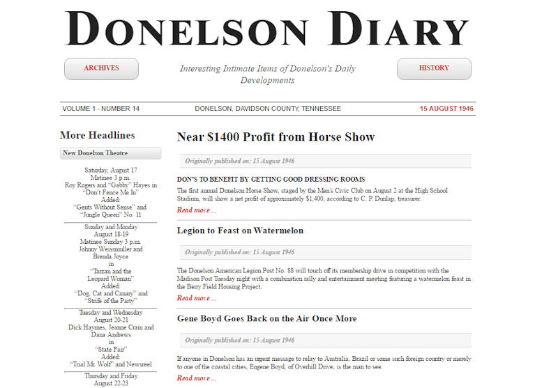 Donelson Diary Relaunched In May 2016