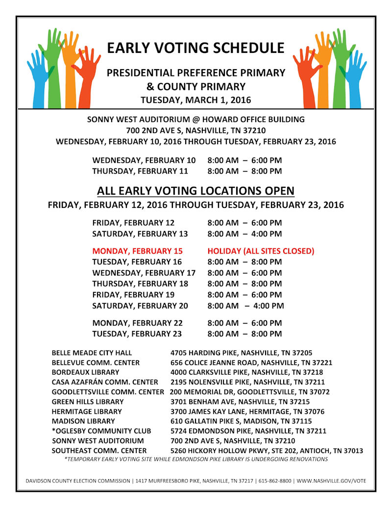 Early Voting Schedule Davidson County Election Commision