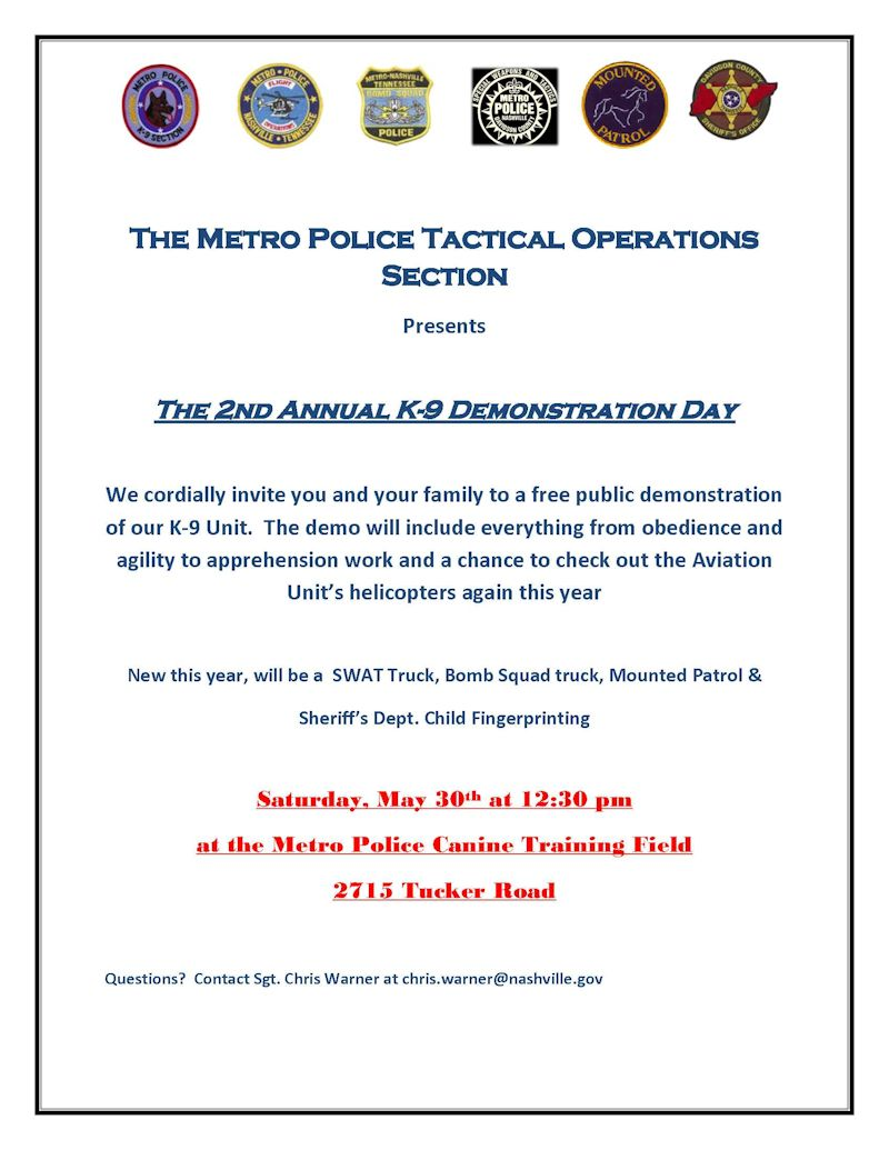 2nd Annual  K9 - Demonstration Day - May 30 2015