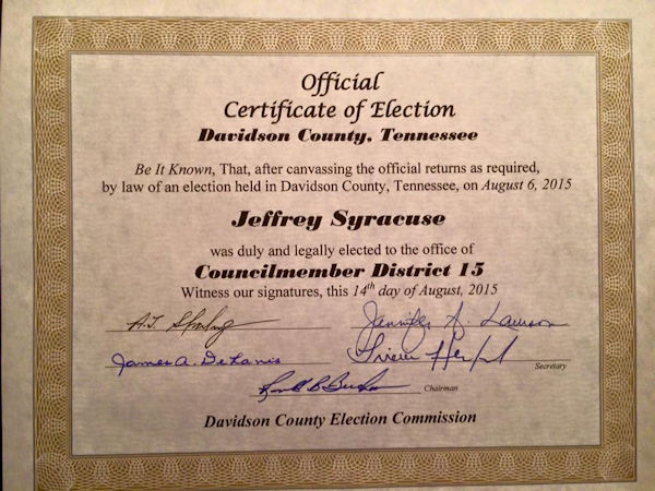 Official Certificate of Election - Jeff Syracuse Metro 15
